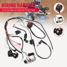 Kit completo de arnés de cableado eléctrico, compatible con Dirt Bike ATV QUAD 50 70 90 110CC con rectificador encendido bobina con llave CDI unidad