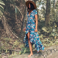 Maxi irregular boho Dress summer floral print sexy v Neck butterfly hem Dresses holiday Bohemia long women dress 2018 vestido