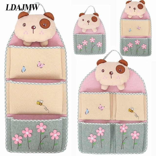 LDAJMW Cute Cartoon Linen Cotton 1-4 Pockets Hanging Storage Bag Home Decoration Sundries Organizer Behind Door/On Wall