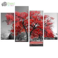 Multi Panels Landscape Canvas Wall Art Maple Tree Forest Painting Prints for Wall Decor Black and White Artwork for Living Room