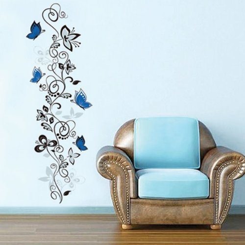 flower vine butterflies wall stickers living room decor x016. diy home decals animals mural art pvc print posters 4.0