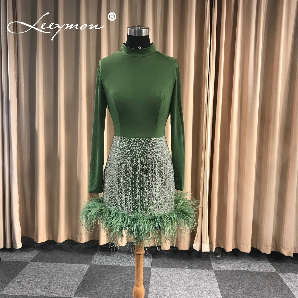 Real Hot 2019 Green Long Sleeves   Cocktail     Cocktail     Dresses   Vestido De Festa Short Party   Dress   with Fur Mini Short Formal   Dress