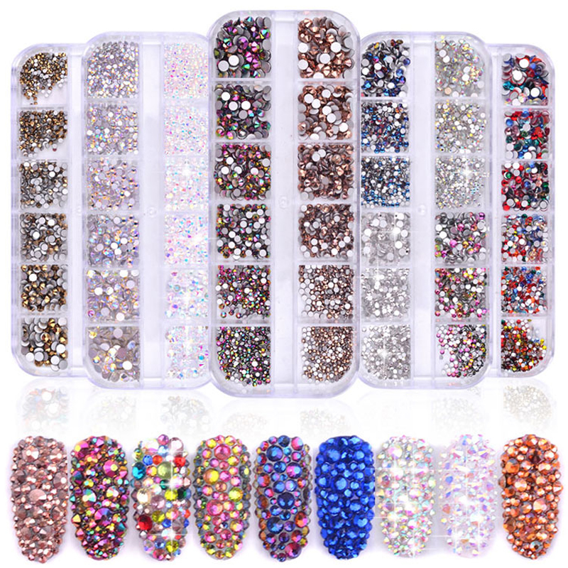 1 Box Multi Size Glass Nail Rhinestones Mixed Colors Flat-ba