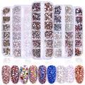 Многоразмерные стеклянные стразы смешанные цвета в 1 коробке, плоский задник AB, Хрустальные Стразы 3D, очаровательные драгоценные камни для ...