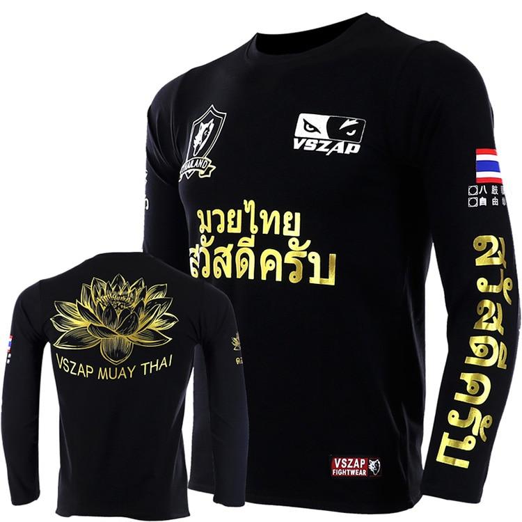 VSZAP THAI Lotus MUAY THAI Fighting MMA Sports Broadcast Seeking Long-sleeve T-shirt  Tiger Fitness Fight
