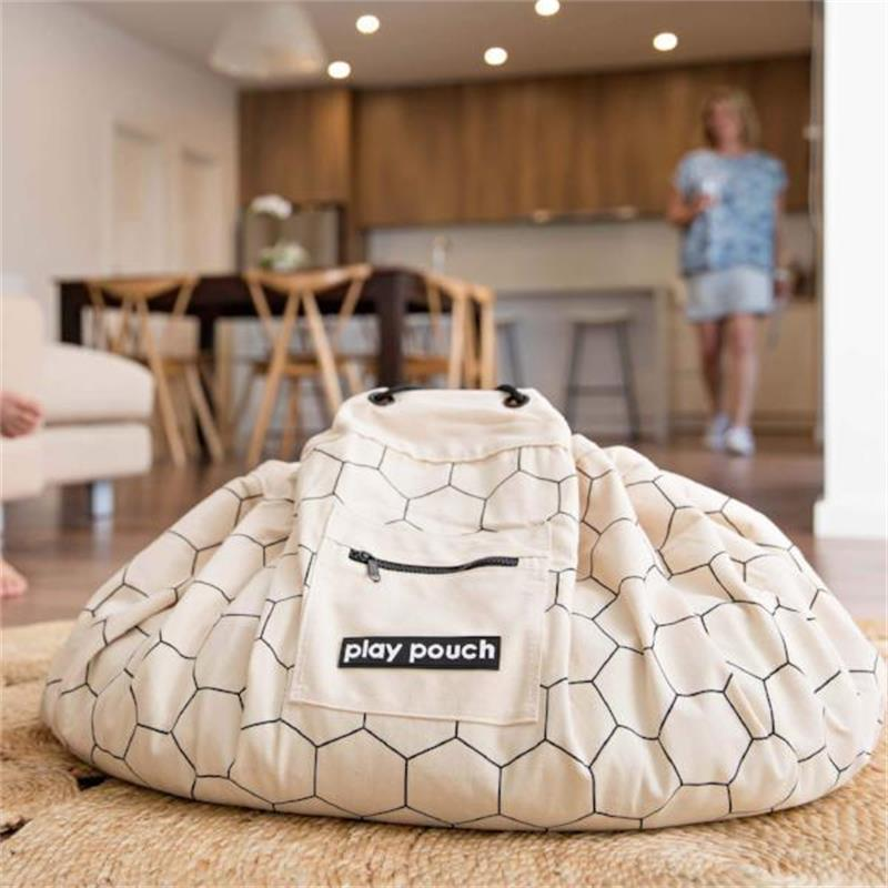 Honeycomb Pattern Kids Baby Play Mat Floor Rug Toy Storage Bag Pouch