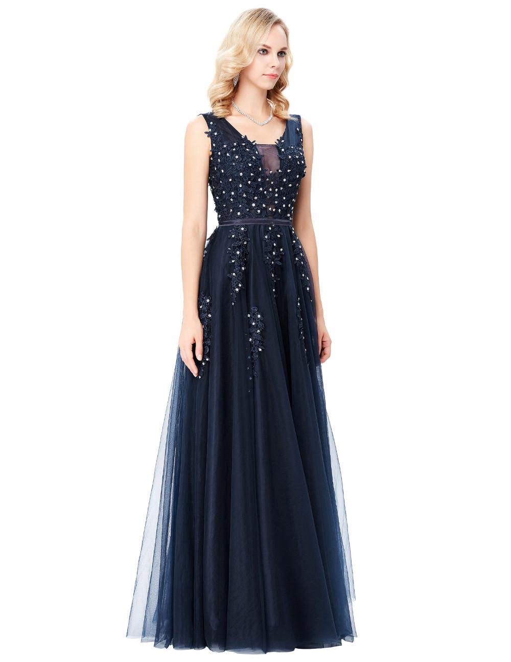 Grace Karin Tulle Appliques Celebrity Prom Dress Sexy V Back Sleeveless Long Royal Blue Robes De Soiree 2017 Longue Prom Dresses 8