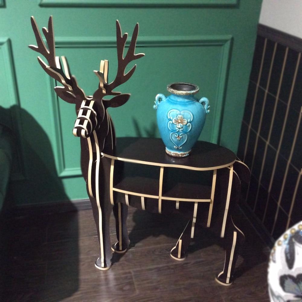 wood Elk deer home furniture decoration wooden small elk bookshelf