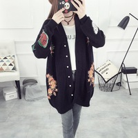QA1300 Black Embroidery Tiger Head Flowers Loose Long Cardigans Winter Female Sweater Quality Women Coats