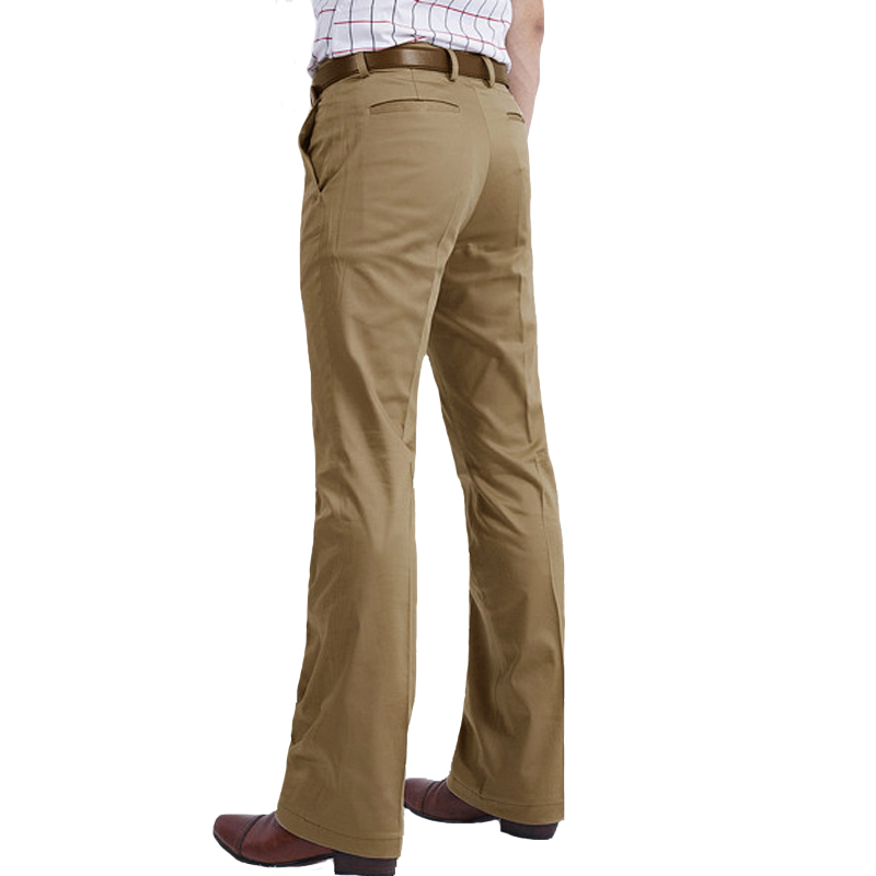2019  Spring New Flared Pants Men's Casual Pants British Leisure Kahki Color  Hot Feet Trousers