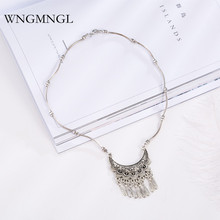 WNGMNGL 2018 New Vintage Enthic Antique Sliver Color Geometric Tassel Pendant Necklace For Women Charm Sweater Fashion Jewelry