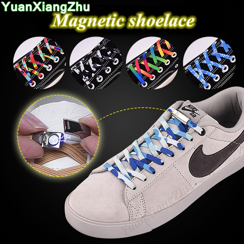 New Magnetic Locking Shoelaces Flats Elastic Sneakers Shoelace Special Creative Quick No Tie Shoelaces Kids Adult Unisex Laces