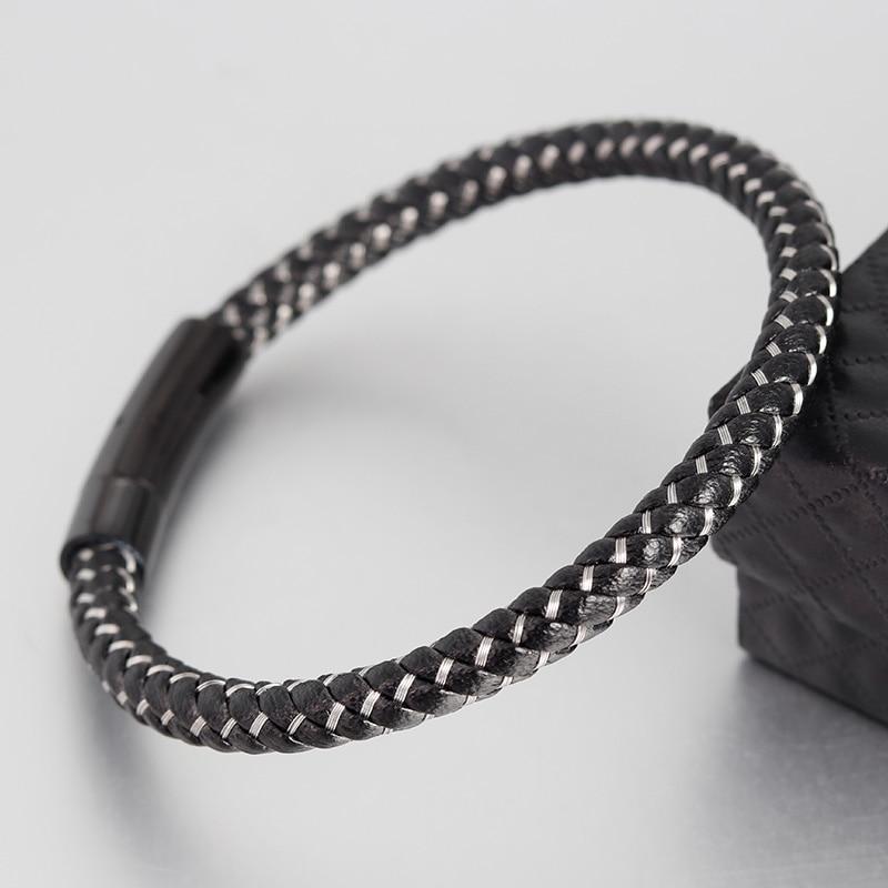 Bracelets En Cuir Véritable Bracelets Avec Câble En Acier Inoxydable C Fermoirs Bracelets de Manchette Pour Homme Femme Bracelets 3