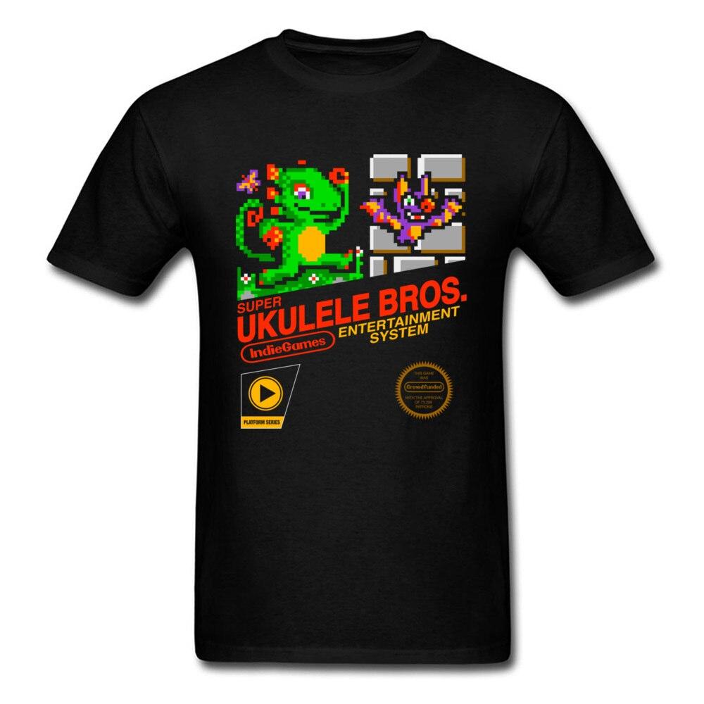 Укулеле Bros футболка инди-игра топы Летняя одежда Для мужчин Забавные футболки с рисунком черная футболка подарок футболки с принтом диноза...