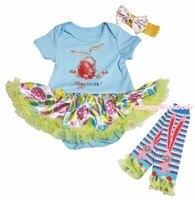 Lapin de pâques peinture bleu body arc - en - Egg filles bébé robe jambières NB-18M