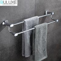 BULUXE Brass Bathroom Accessories Towel Bar Rack Holder Chrome Finished Wall Mounted Bath Acessorios de banheiro HP7712