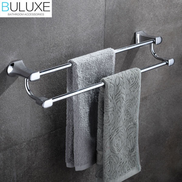 BULUXE Brass Bathroom Accessories Towel Bar Rack Holder Chrome Finished Wall Mounted Bath Acessorios de banheiro HP7712 buluxe brass bathroom accessories towel bar rack holder chrome finished wall mounted bath acessorios de banheiro hp7736