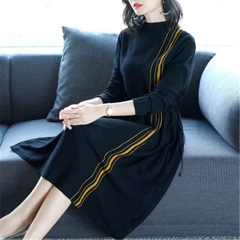2019 nouveau automne hiver tricot robe femmes longue section col roulé femme à manches longues Bottoming laine pull robe X116 - 4