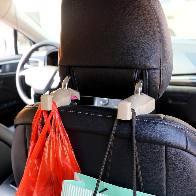 LEEPEE 2pcs Car Seat Back Hooks Bag Hanger Holder Universal Organizer Automobiles Headrest Mount Storage Hooks Clips