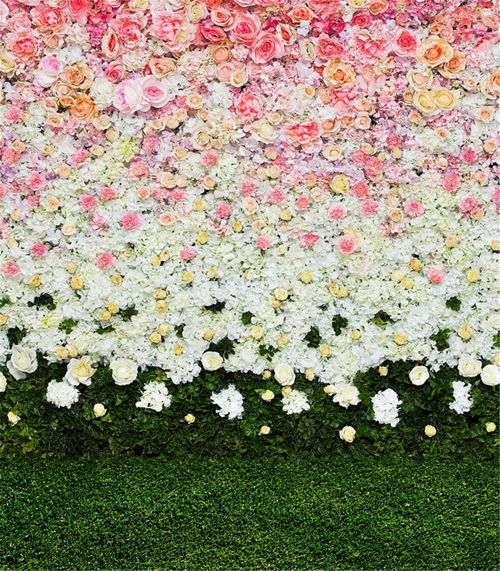 Pink Flowers And Green Grass Photography Backdrop 5x7 Backdrops For