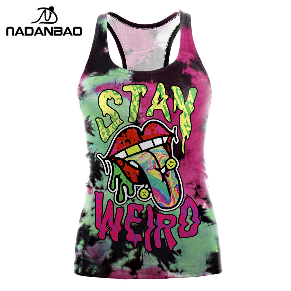 NADANBAO Sexy Summer Women Tank Top Halloween Mouth Party Top Designs Cropped Feminino Print O-neck Camisole Festival Tops