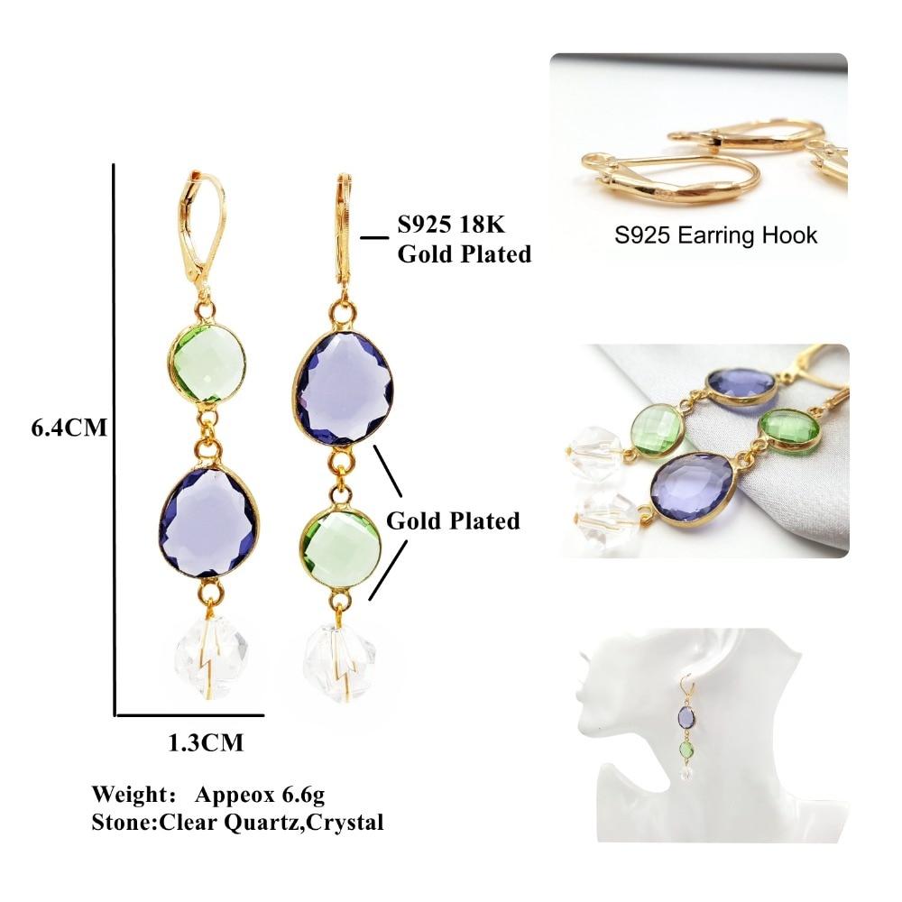 Gifts for Women Girls 18K Gold//Platinum Plated Rose Quartz//Aquamarine Drop Dangle Earrings