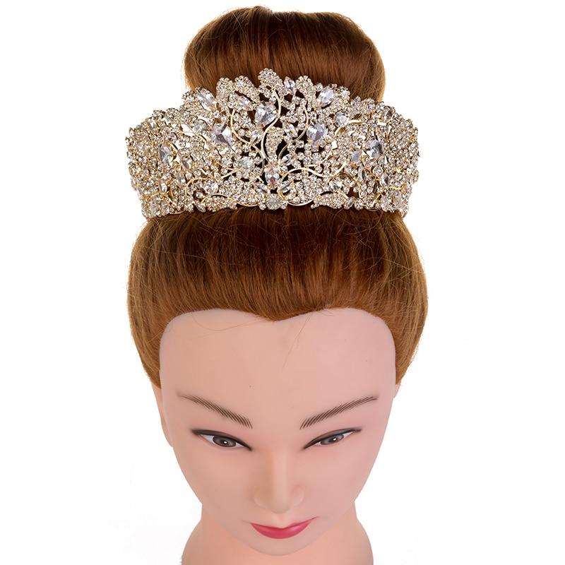 Hadiyana Fashion Stunning Copper Cubic Zirconia Crown Wedding Tiara CZ Hotsale Bridal Queen Princess Pageant Party Crowns HG6033