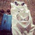 Женщины блузки белого шифона мода 2015 новых осенью Blusas Femininas с длинным рукавом Большой размер Vestidos свободного покроя одежда