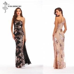 Image 4 - Robe longue sexy à paillettes pour adultes, à bretelles dénudées, robe longue fendue, bretelles dénudées, longue danse, salle de bal, queue de poisson