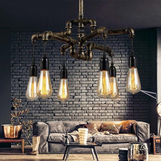 Water pipe loft style lamp edison pendant lights fixtures vintage water pipe loft style lamp edison pendant lights fixtures vintage industrial hanging lamp for dining room mozeypictures Images
