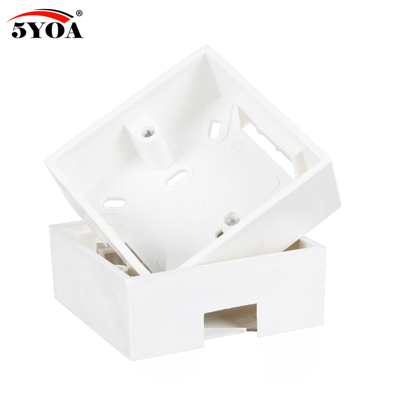 5YOA 86 Box Mount Bottom Wall Switch Socket Switch-Base PVC Surface Outlet Junction Electrical Accessories Mounting Exit Button 86x86 pvc junction box wall mount cassette for switch socket base