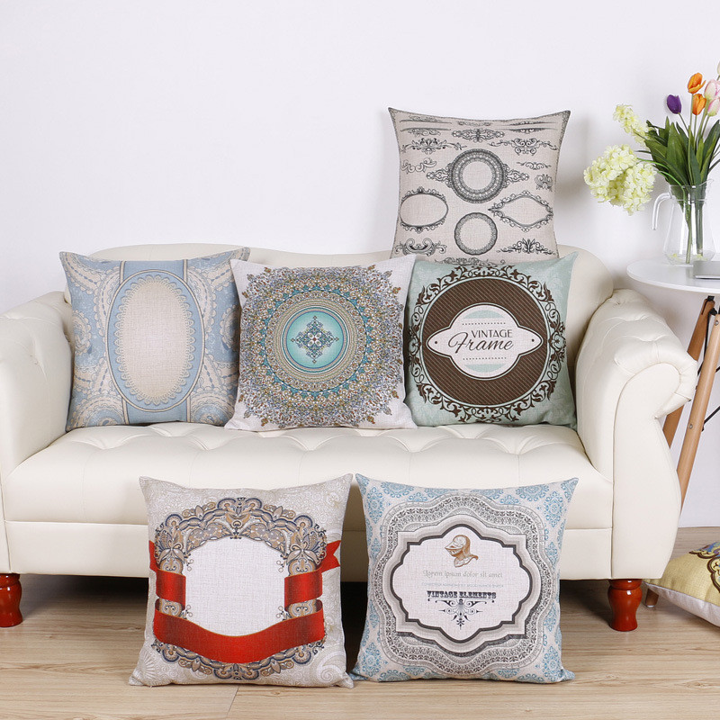 beautyhouse wholesale wedding gift pillow cover retro round pattern vintage decorative cushion cover car home sofa
