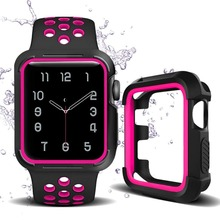 Apple Watch Band with Case 38 42 Shatter-Resistant Protective Soft Silicone Sport for Series4/3/2/1 Nike Edition