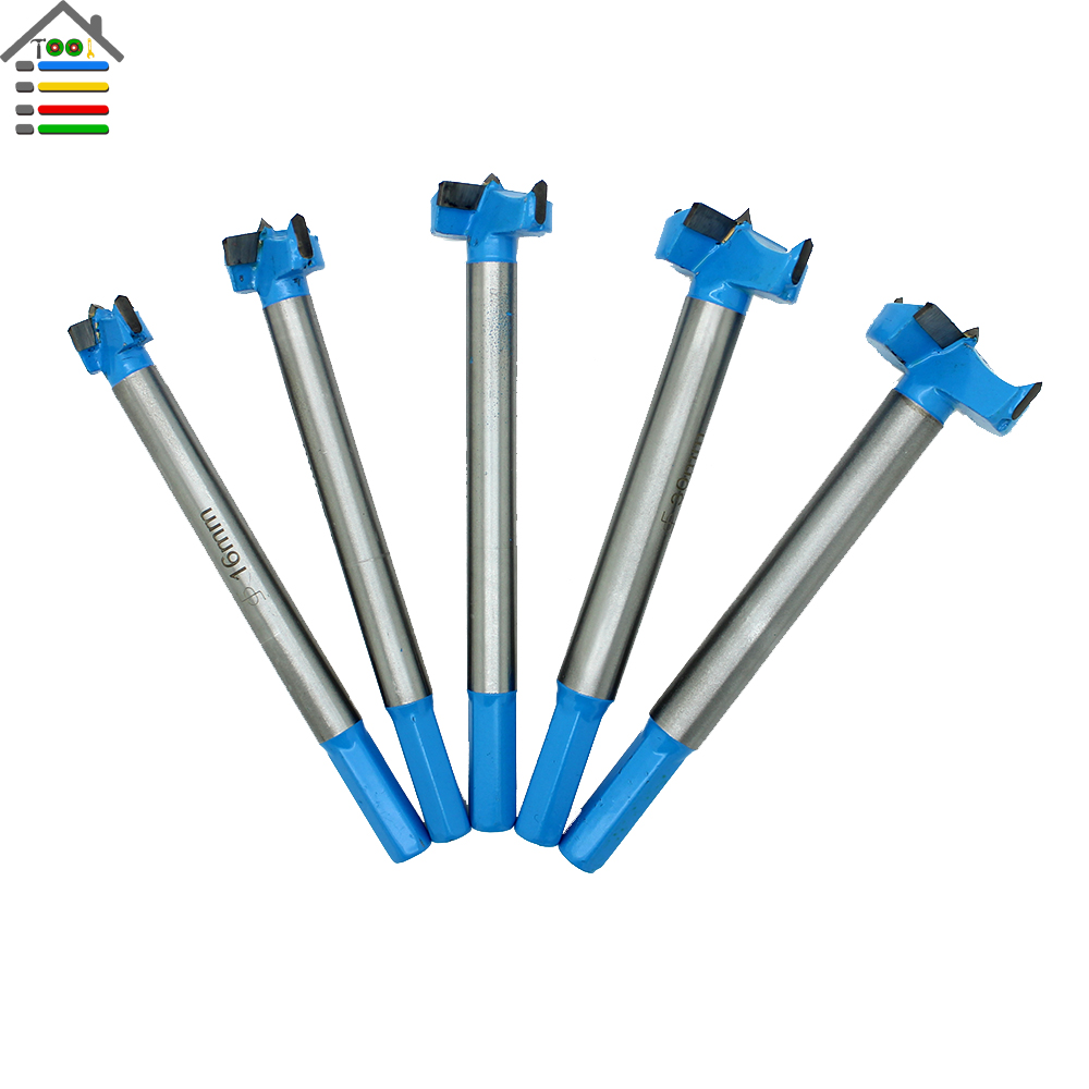 New 5pc Extended Forstner Core Drill Bit Set Depth 0-100mm Wood Hole Saw Wood Cutter Drilling Long shank 16-35mm new 50mm concrete cement wall hole saw set with drill bit 200mm rod wrench for power tool