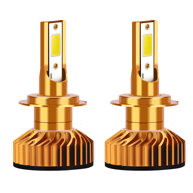 Infitary H7 H4 Автомобильный светодиодный головной светильник лампы H1 H11 H3 H27 880 9005 9006 9007 72 Вт 8000LM 6500K 12V Авто Светодиодный Фонарь налобный мини-фонарь COB Туман светильник - Испускаемый цвет: Golden