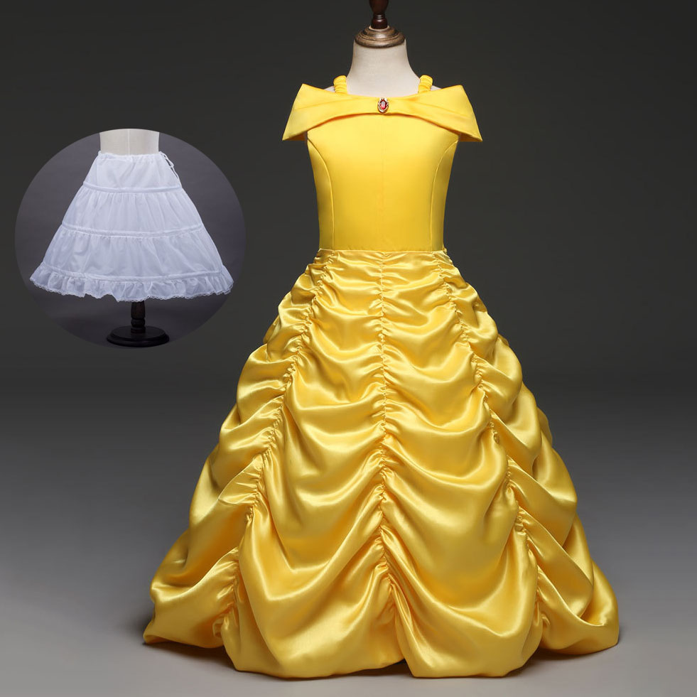 Children Princess Clothing Girls Yellow Party Dresses Girls Cosplay ...
