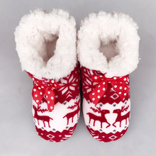 100% Real Photo Winter New Women's Warm Cotton Shoes Snowflake Deer Pattern Indoor Shoes Soft Bottom Non-slip Floor Home Slipper