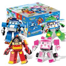 4 style Robocar Poli transformacja 2 w 1 klocki samochodowe figurki kompatybilne z Legoingly Duplo klocki dla dzieci tanie tanio BLOCKS Unisex 3 lat Do Not Eat Robocar Poli Toy Poli Robocar