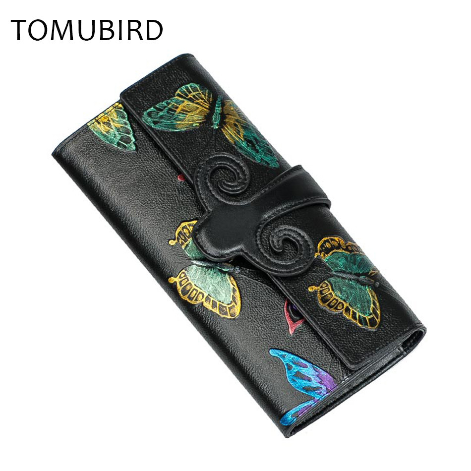 TOMUBIRD wallet women Genuine Leather Long Female Purse vintage Embossing Flower design  Credit Card Holder Clutch Party Bag jialante python skin women wallet female long style real snake leather manual super thin simple multi card female clutch bag