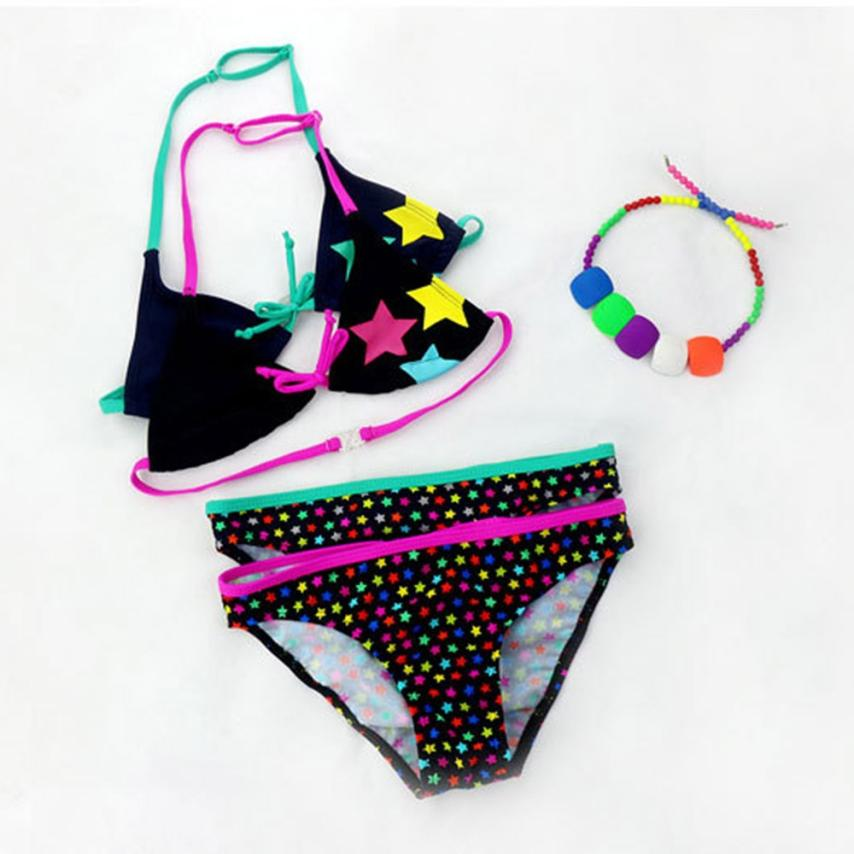 2018 New Arrival Infant Kids Girls Star Print Bowknot Swimwear Swimsuit Bathing Set Outfits Set beach wear Mar 14