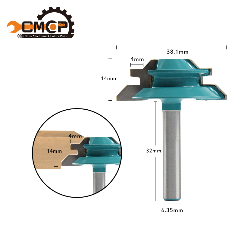 CMCP! 1pc 45 Degree Lock Miter Router Bit 1-1/2 Diameter 1/4 Shank Wood Cutter For Wood Working Drilling Chamfer End Mills 1pc 8mm shank high quality 45 degree chamfer