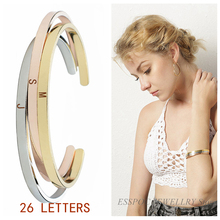 26 Letters A-Z Engraved Bangle Fashion Gold Color Copper Bracelet Name Charm Metal Bracelets Letter Jewelry Creative Women Gifts