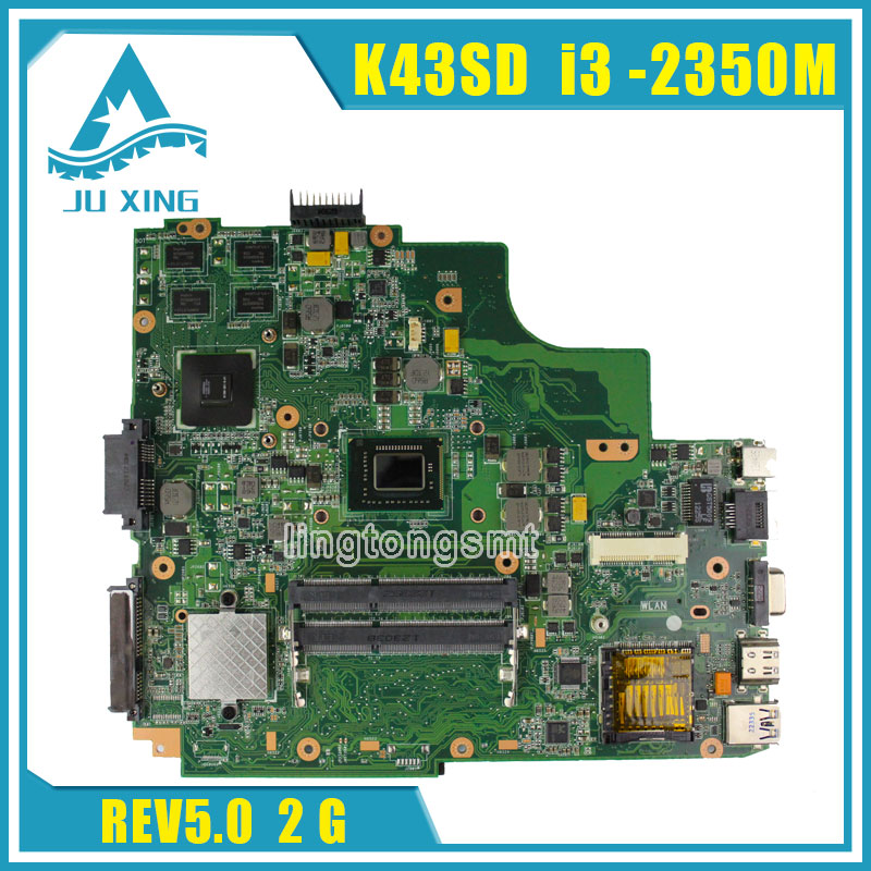 for ASUS K43SD laptop motherboard processor i3 8 memory 2G mainboard 100% tested & working before shipping laptop non integrated motherboard for k43sd k43sd main board free shipping