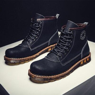 Outono Britânicos Homens E top Da De Plus Sapatos Moda Alta 2018 Nova Black Velvet Casuais Botas Dos Couro Ferramentas black Inverno qtw08f