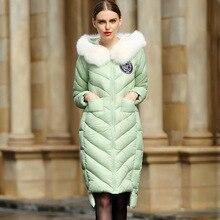 S-4XL Plus Size European Real Fox Fur Collar Warm New Solid 90% White Duck Down Light Slim Winter Coat Women Long Down Jacket
