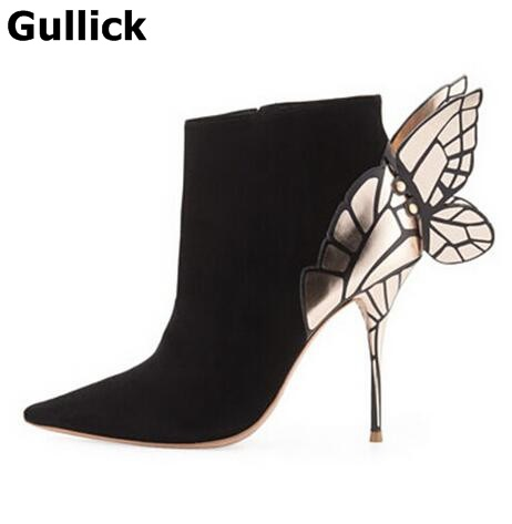 Pointed Toe women shoes Ankle Fashion Back Butterfly High Quality Hot Selling Thin Heels Woman Boots Black Suede Designer hot sale black khaki cow suede leather zip fashion women boots round toe thin heels ankle shoes woman c019 2