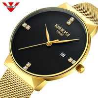 Reloj NIBOSI de oro para hombre, Reloj de moda deportivo de cuarzo con diamantes, Reloj Simple de lujo, resistente al agua para hombre, Reloj Masculino