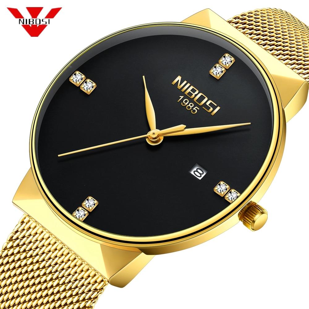 Montre NIBOSI en or pour hommes, montre à Quartz Simple avec diamant, montre de luxe étanche pour hommes