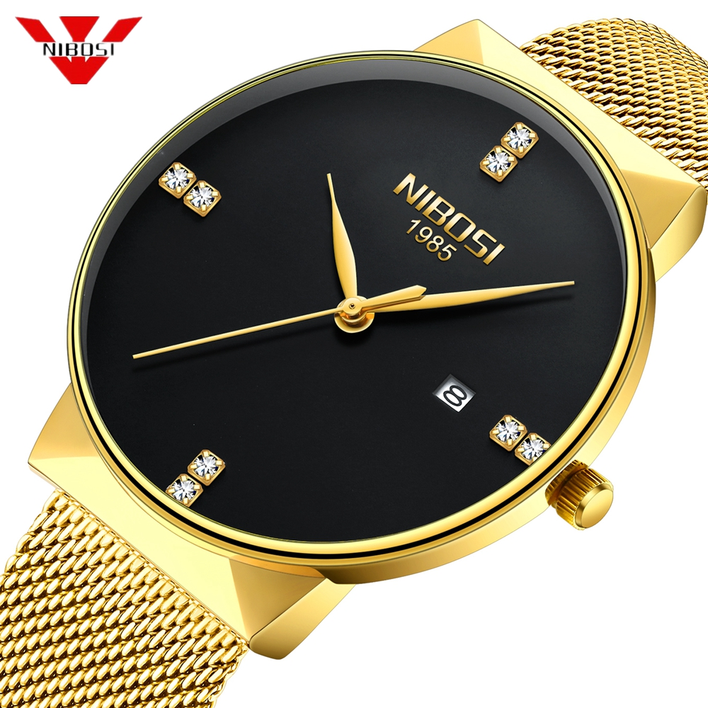 NIBOSI Gold Watch Men Fashion Sport Quartz Diamond Simple Clock Top Brand Luxury Waterproof Mens Watches Reloj Relogio Masculino