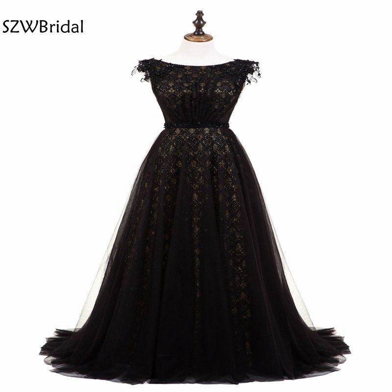Christmas Ball Gowns Plus Size.New Arrival Black Evening Dress Long Cap Sleeve Lace Evening